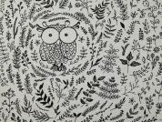 Owl Print Poly Cotton Canvas Dress Fabric  Black & Beige