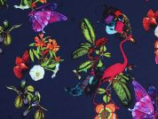 Birds, Butterflies & Flowers Print Stretch Polyester Dress Fabric  Multicoloured