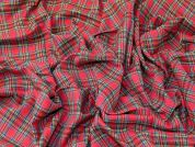 Plaid Check Soft Brushed Flannel Dress Fabric  Red