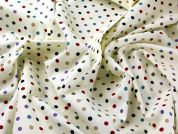 Spotty Rainbow Print Linen Look Cotton Dress Fabric
