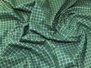 Christmas Mesh Grid Print 100% Cotton Fabric  Gold on Green