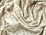 Tiny Floral Heart Print Cotton Poplin Dress Fabric  Beige