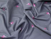 Flamingos Embroidered Linen Look Cotton Dress Fabric