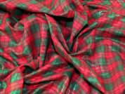 Tartan Plaid Check Metallic Woven Cotton with Lurex Lame Dress Fabric  Red & Green