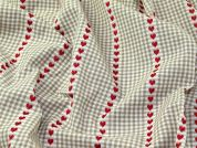 Colour Woven Heart Gingham Check Cotton Jacquard Upholstery Fabric