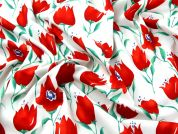 Directional Floral Print Cotton Poplin Dress Fabric  Red & White