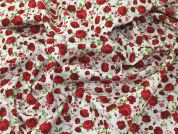 Vintage Style Floral Print Linen Look Cotton Dress Fabric