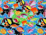 Fish Print Cotton Poplin Dress Fabric  Multicoloured