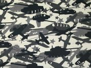 Army Tanks & Planes Print Cotton Poplin Dress Fabric