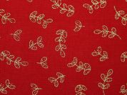 Christmas Metallic Leaf Print 100% Cotton Fabric  Gold on Red