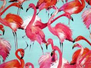 Flamingo Print Cotton Canvas Dress Fabric  Pink