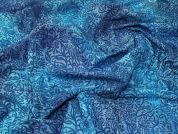 Hand Printed Batik Fabric  Blue