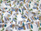 Live to Surf Print Cotton Dress Fabric  Multicoloured