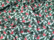 Flamingo Cotton Fabric  Pink & Green