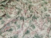 Cotton Canvas Fabric  Pink & Green