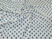 Cotton Jersey Knit Fabric  Teal on Cream