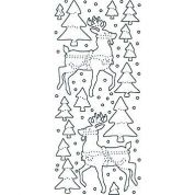 Transparent Glitter Peel Off Stickers Reindeers  Gold