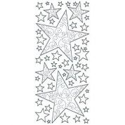Transparent Glitter Peel Off Stickers Xmas Stars  Gold
