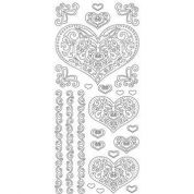 Peel Off Stickers Large Hearts  Gold