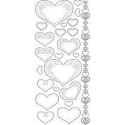 Transparent Peel Off Stickers Stitched Hearts  Gold