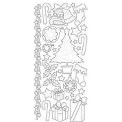 Transparent Peel Off Stickers Stitched Christmas  Gold
