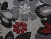 Floral Tapestry Woven Home Fabric  Black, Red & Grey