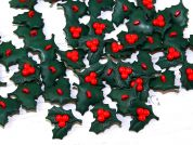 Fine Style Plastic Christmas Holly Shape Novelty Buttons