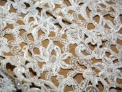 Karma Sequinned & Beaded Guipure Couture Bridal Lace Fabric  Ivory