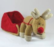 Knitting By Post Reindeer and Sleigh Toy Knitting Pattern  DK