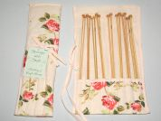 Hobby & Gift Cream Floral Bamboo Knitting Pin Gift Set with Case