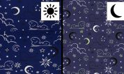 Glow in the Dark Cotton Fabric  Navy Blue