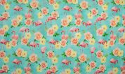 Cotton Jersey Knit Fabric  Pink & Turquoise