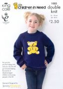 King Cole Children in Need Pudsey Bear Sweater & Cardigan Big Value Knitting Pattern 1003  DK