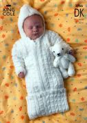 King Cole Baby Jacket, Sweater & Sleeping Bag Big Value Knitting Pattern 2766  DK
