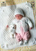 King Cole Baby Jackets, Hat & Blanket Big Value Knitting Pattern 2767  DK