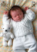 King Cole Baby Sweater, Cardigan & Teddy Bear Big Value Knitting Pattern 2768  DK