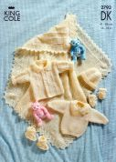 King Cole Baby Shawl & Layette Big Value Knitting Pattern 2793  DK