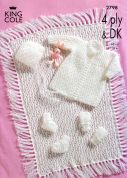 King Cole Baby Matinee Coat, Bonnet, Booties, Mitts & Pram Cover Big Value Knitting Pattern 2798  DK, 4 Ply
