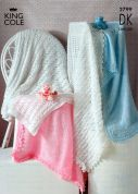 King Cole Baby Shawls Big Value Knitting Pattern 2799  DK
