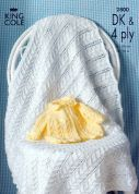 King Cole Baby Matinee Jacket & Shawl Big Value Knitting Pattern 2800  DK, 4 Ply