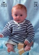 King Cole Baby Sweaters & Cardigans Big Value Knitting Pattern 2822  DK