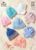 King Cole Baby Hats Big Value Knitting Pattern 2824  DK