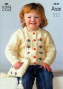 King Cole Childrens Sweater, Cardigan & Bag Fashion Knitting Pattern 2849  Aran