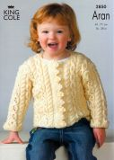 King Cole Girls Sweater & Jacket Fashion Knitting Pattern 2850  Aran
