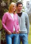 King Cole Ladies & Mens Cardigan & Sweater Merino Knitting Pattern 2870  DK