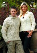 King Cole Fashion Aran Ladies & Mens Sweater & Jacket Fashion Knitting Pattern 2874  Aran