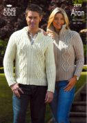 King Cole Ladies & Mens Jackets Fashion Knitting Pattern 2875  Aran
