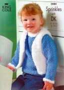 King Cole Childrens Jacket, Gilet, Hat & Scarf Sprinkles Knitting Pattern 2880  Chunky, DK
