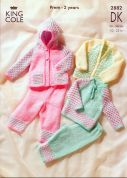 King Cole Baby Sweater, Cardigan, Hooded Jacket & Trousers Big Value Knitting Pattern 2882  DK