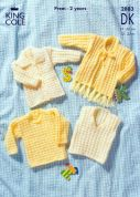 King Cole Baby Sweater, Cardigan, & Slipover Big Value Knitting Pattern 2883  DK